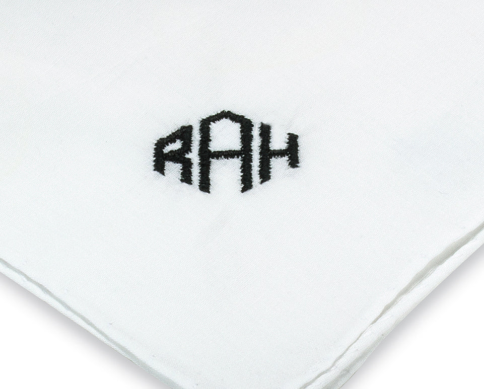 Monogrammed Pocket Square in Diamond Style