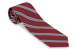 R. Hanauer Red Hawkins Stripes Traditional Necktie