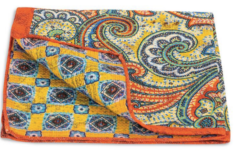 Peach Lucille Paisley Pocket Square