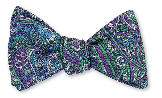 Blue and Lavender Paisley Bow Tie