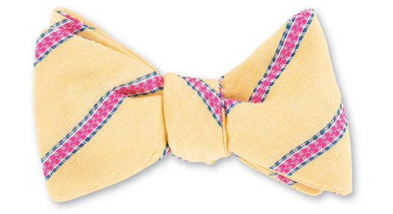 Yellow and Pink Striped Bow Tie