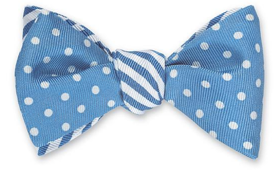 Light Blue Striped and Dotted Bow Tie