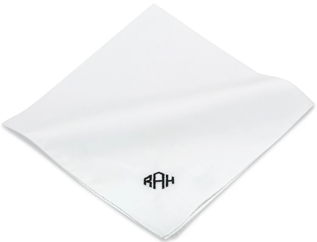 Monogrammed Pocket Square - White