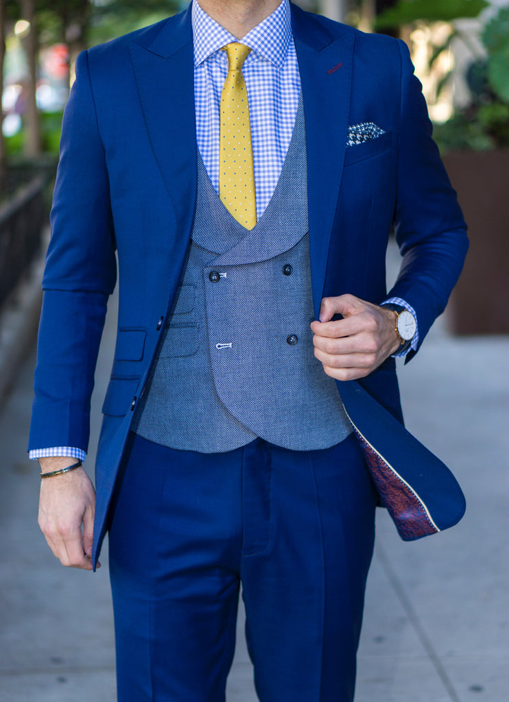 Blue suit jacket and pants example