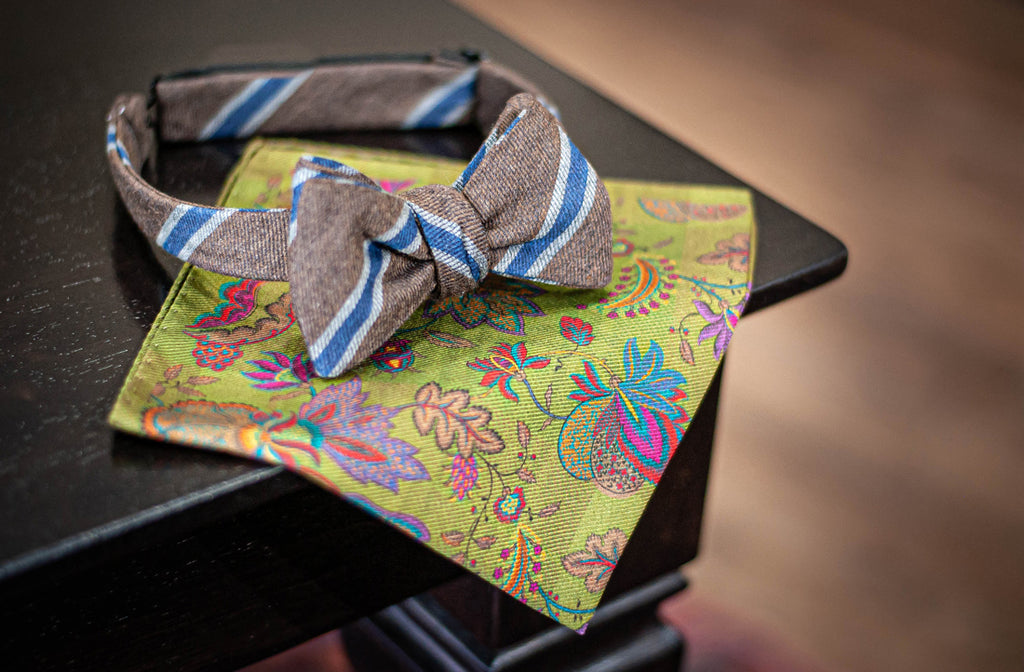 Paisley pocket square with Fall bow tie