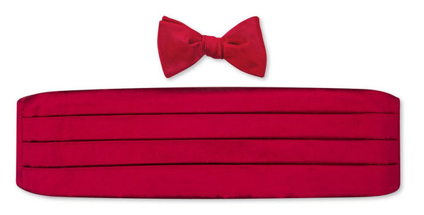 Red Satin Cummerbund + Bow Tie