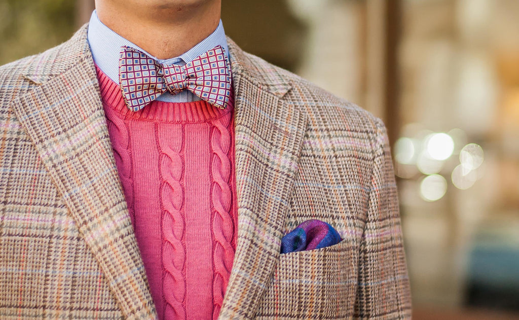 Sweater vest style with bow tie and pocket square