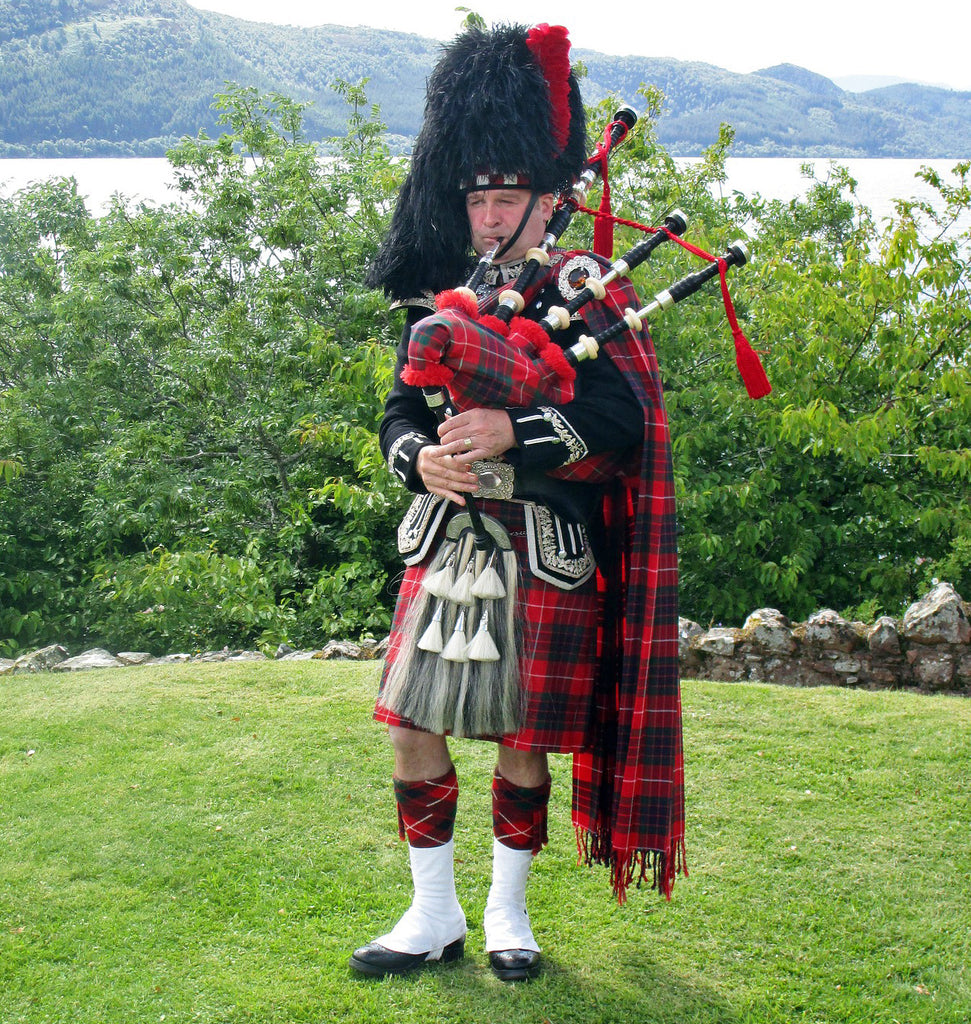 Scottish Highlander wearing a plaid