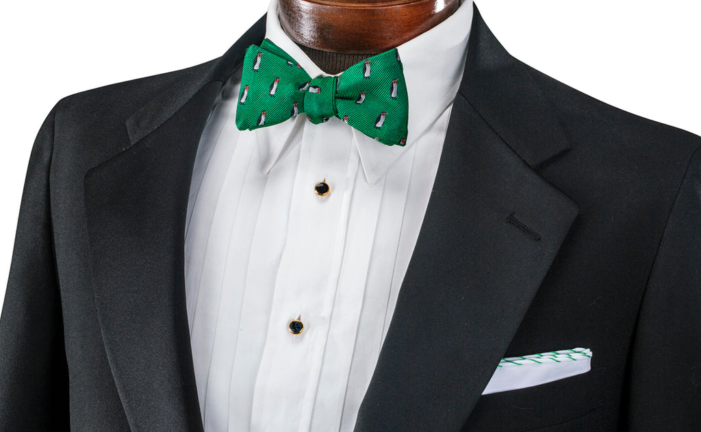 Tuxedo Shirt Style - Pleated Bib with Bow Tie and Pocket Square