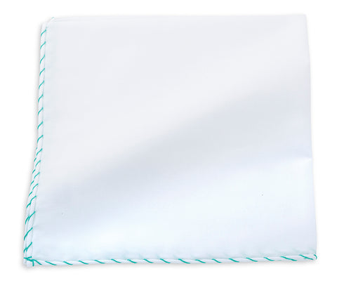 Aqua Whipstitch Border Pocket Square - 116