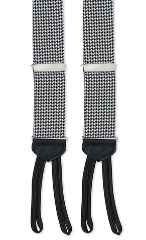 black and white houndstooth suspenders