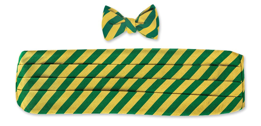 Gold/Green Bar Stripes Cummerbund Set - CB1406