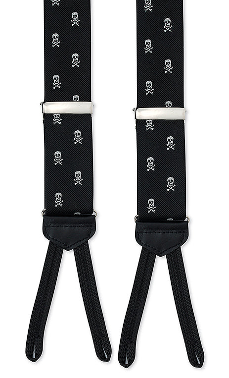 black and white skull suspenders