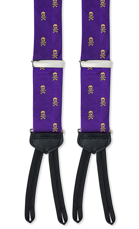 purple gold skull suspenders