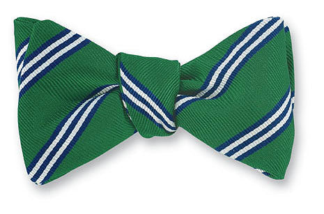 green brooks stripe bow tie