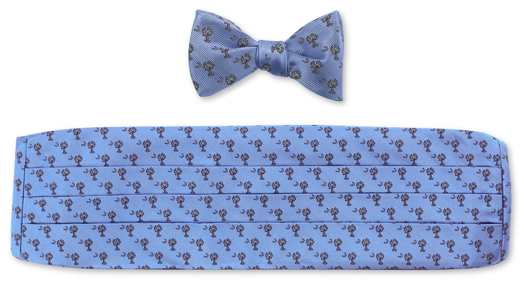Blue Palmetto Cummerbund Set for Prom