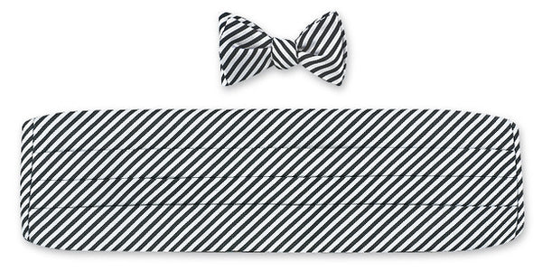 Black/ White Sherman Stripes Cummerbund Set - CB2542