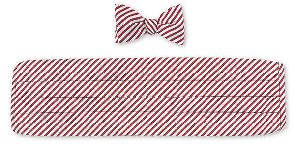 Red/ White Sherman Stripes Cummerbund Set - CB2543