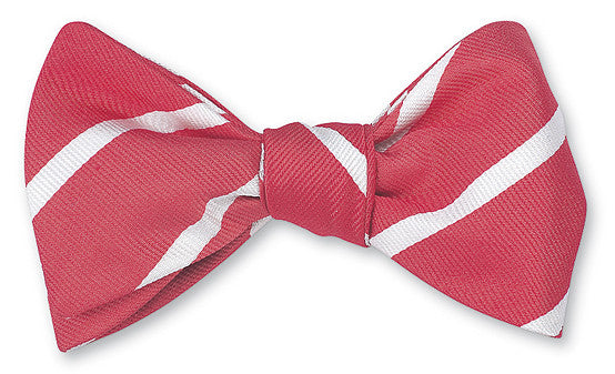 Coral/ White Buckingham Striped Bow Tie