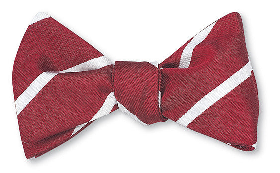 Red/ White Buckingham Striped Bow Tie - B2795