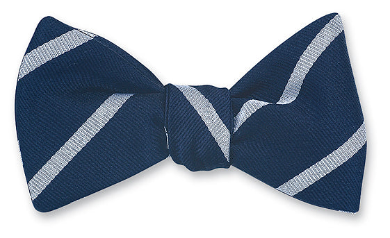 Navy/ Silver Buckingham Striped Bow Tie - B2797