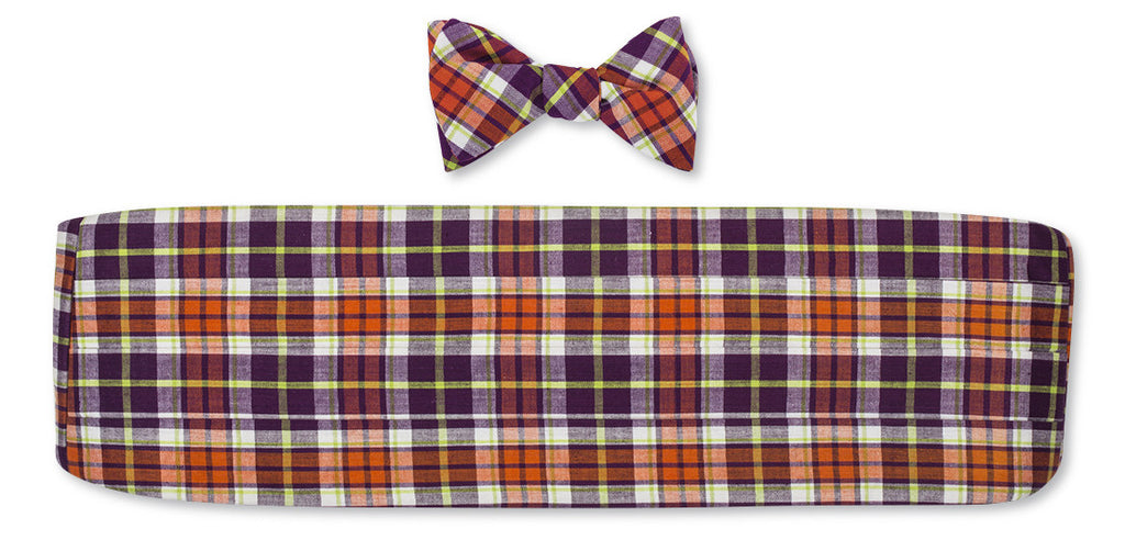 Purple/ Orange Madras Cummerbund Set