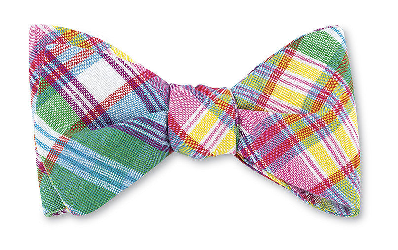 Green, Yellow & Pink Madras Bow Tie