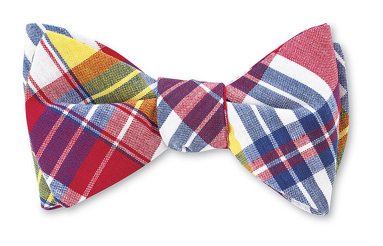 Navy/ Red/ White Madras Bow Tie for Boys