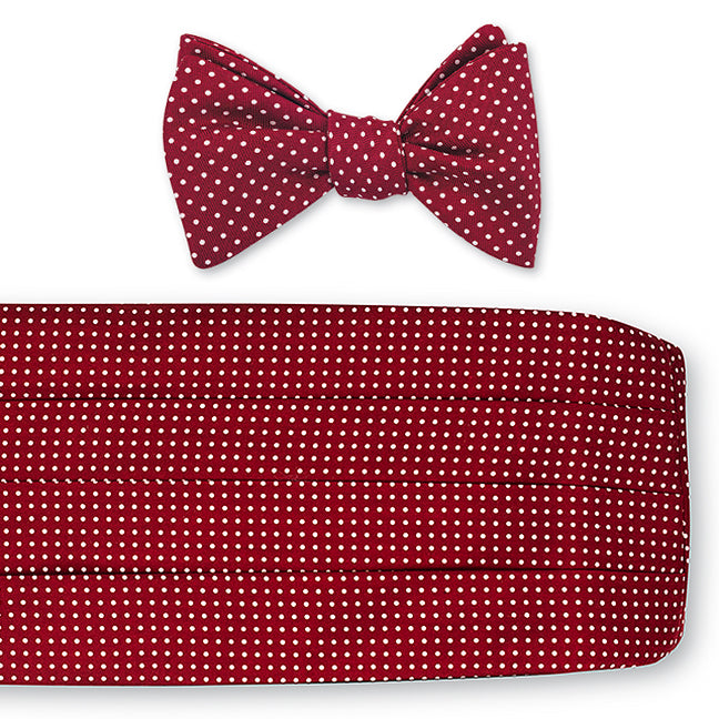 burgundy cummerbund set