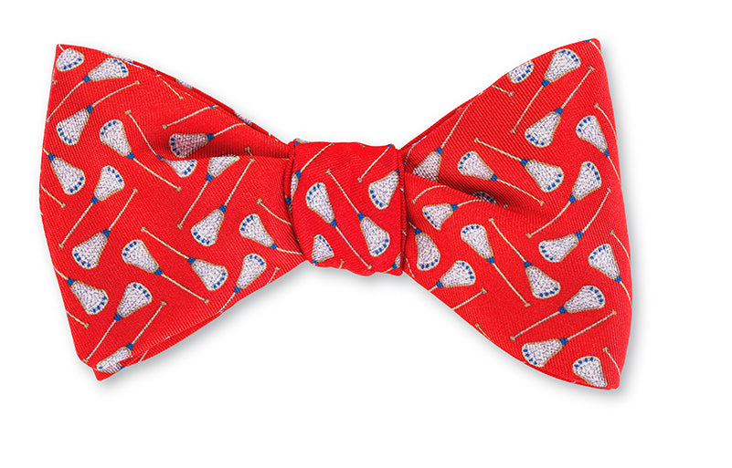 Red Lacrosse Sticks Bow Tie