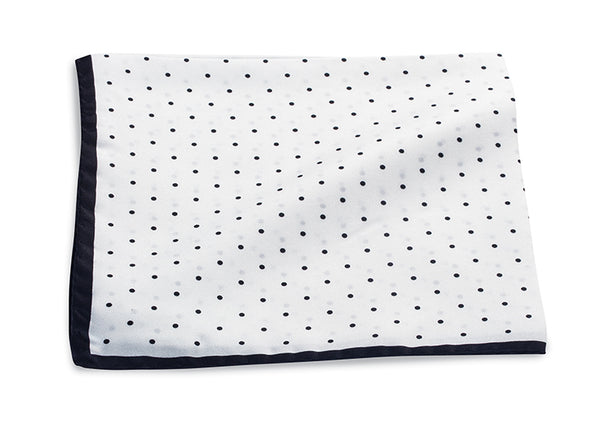 White/Black Polka Dot Pocket Square - 4365