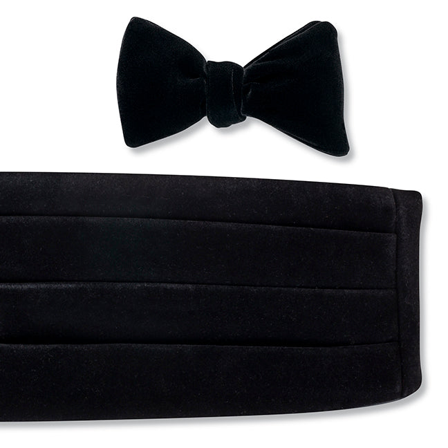 Black Velvet Cummerbund Set for Prom