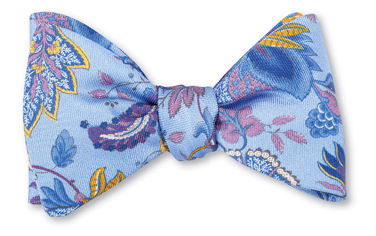 Blue Blueleaf Floral Bow Tie