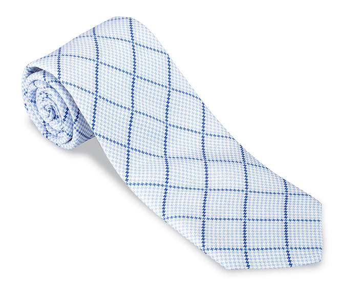 Blue Balboa Plaid Necktie - F4656