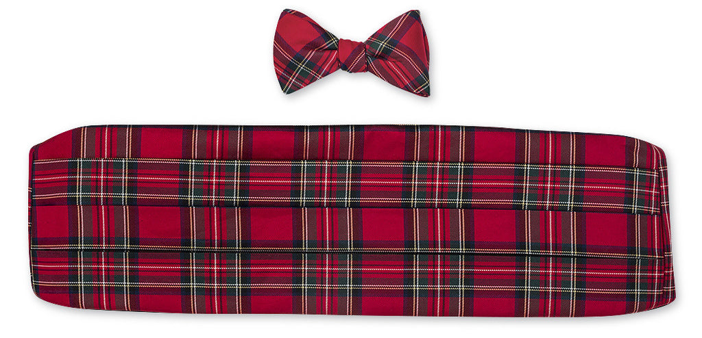 Prince of wales cummerbund and bow tie set