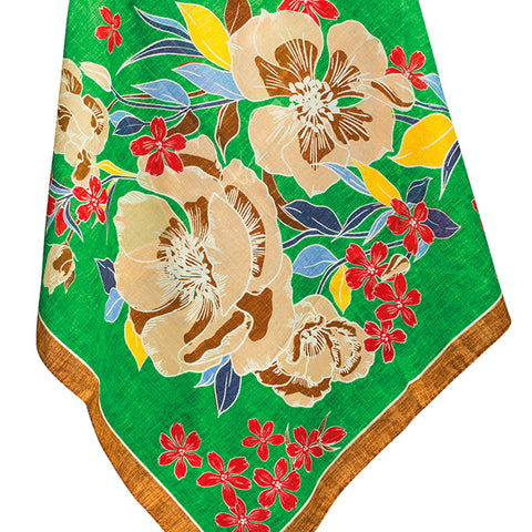 Green Floral Scarf - 4796