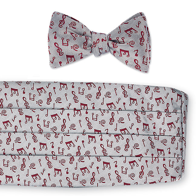 Red/White Music Notes Cummerbund Set - CB4798