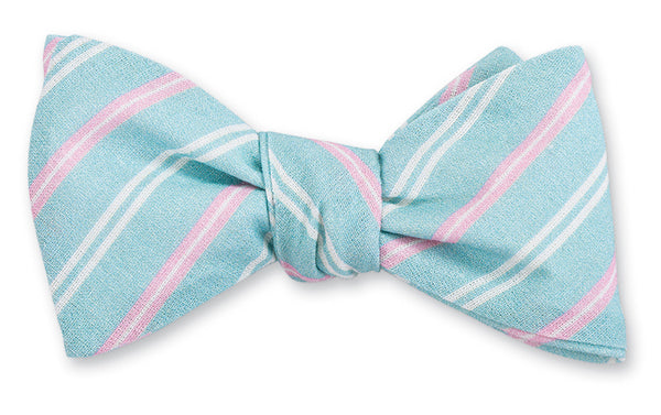 aqua stripes bow tie