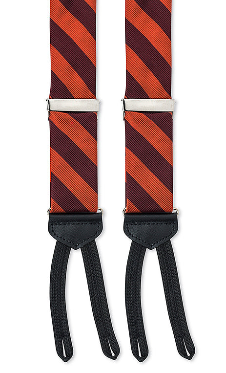 maroon orange striped silk suspenders