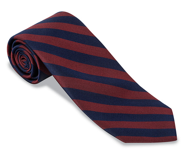 Navy/Burgundy Bar Stripes Necktie - F628