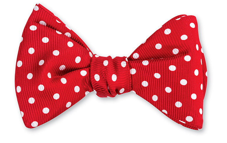 Red/ White Windsor Dots Bow Tie - B711