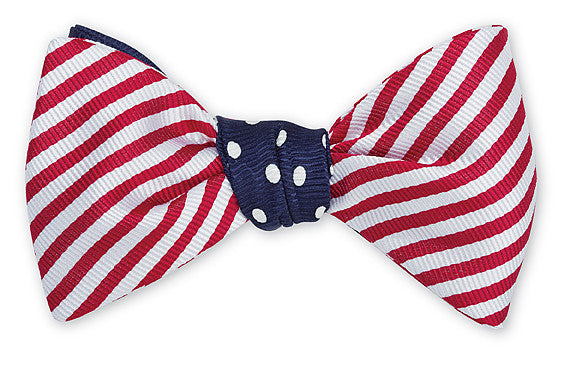 Red White and Blue Patriotic Flag Bow Tie