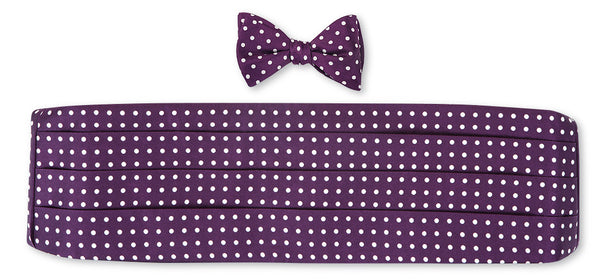 Purple/ White Windsor Dots Cummerbund Set for Prom