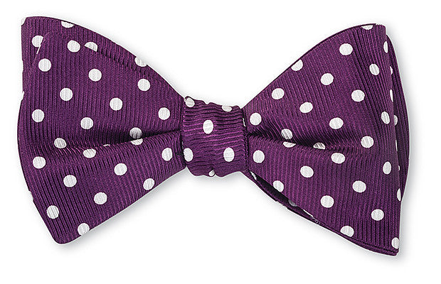 Purple and White Windsor Dots Bow Ties
