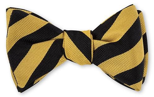 Black/ Gold Bar Stripes Bow Tie - B631 R. Hanauer Bow Ties