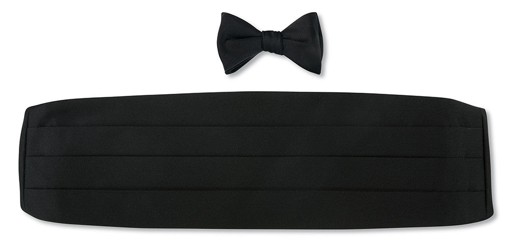 Formal Black Satin Cummerbund Set for Prom