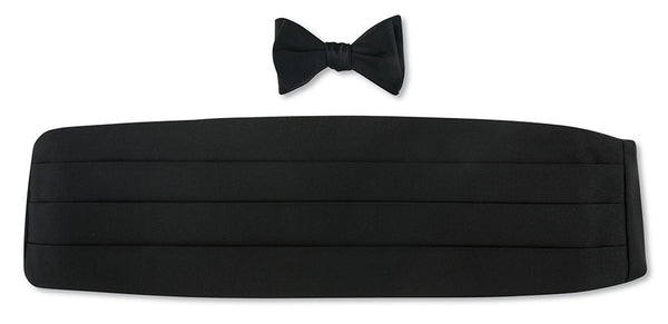 black silk bow tie and cummerbund sets