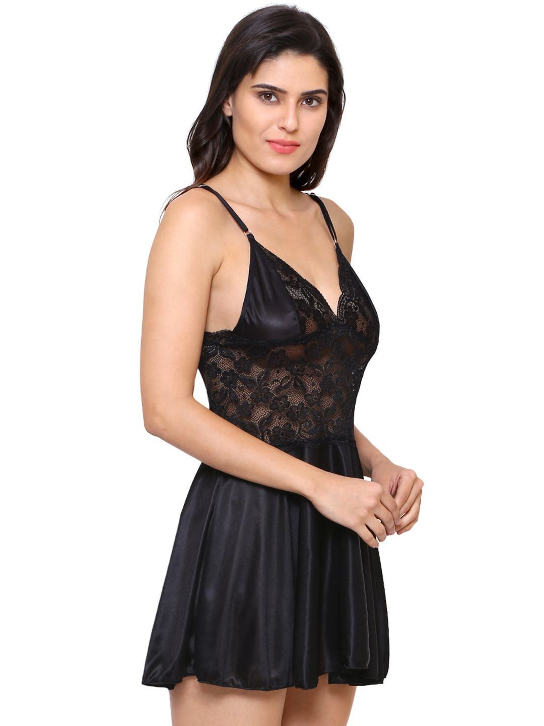 Klamotten Women's Fit and Flare Babydoll Dress X07_Blk