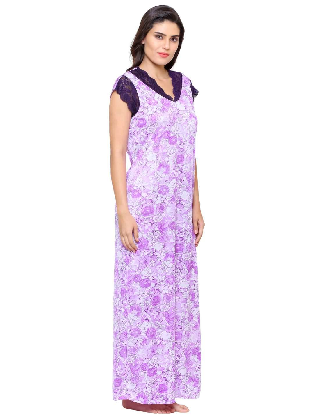 Klamotten Women's Printed Long Nightdress 50P26