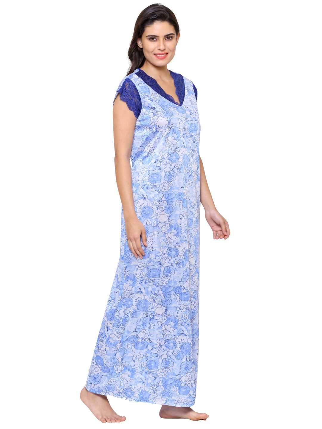 Klamotten Women's Printed Long Nightdress 50S26
